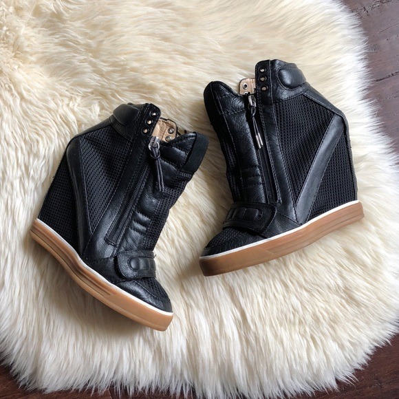 2278afcf3be1 L.A.M.B. Shoes - L.A.M.B. Nala Black Leather Wedge Sneakers 8.5